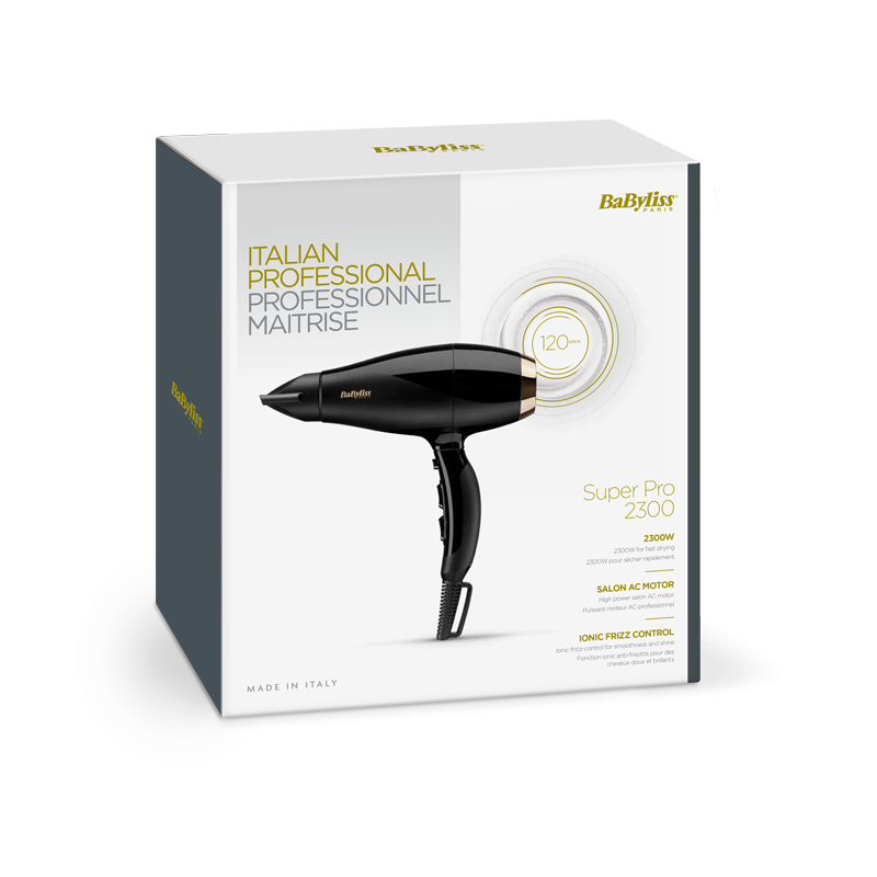 BaByliss Asciugacapelli AC Super Pro 2300W Made in Italy
